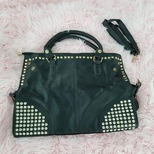 Black rhinestone studded messenger crossbody bag